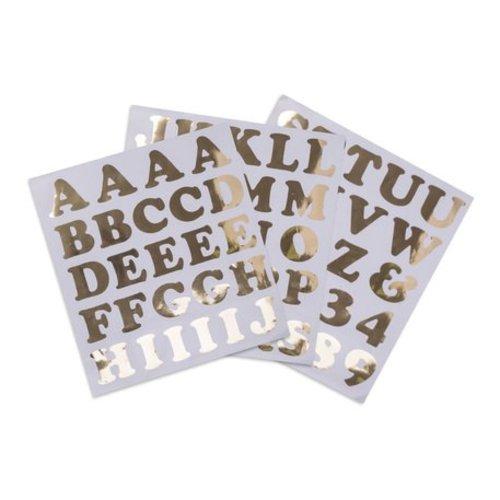 Feestdeco Alfabetstickers goud XL - 71-delig