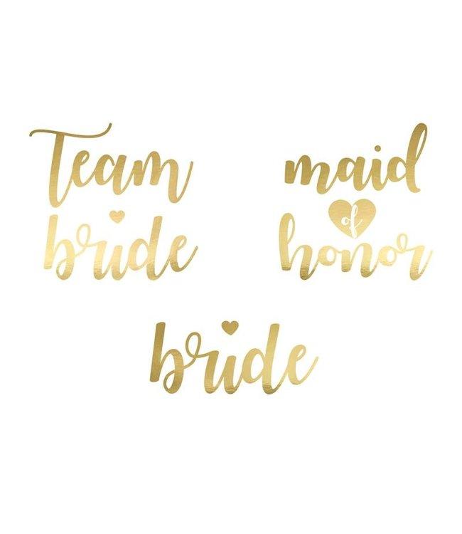PartyDeco Vrijgezellenfeest tattoos - Team bride goud