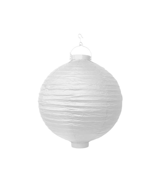 PartyDeco Witte lampion LED 30 cm
