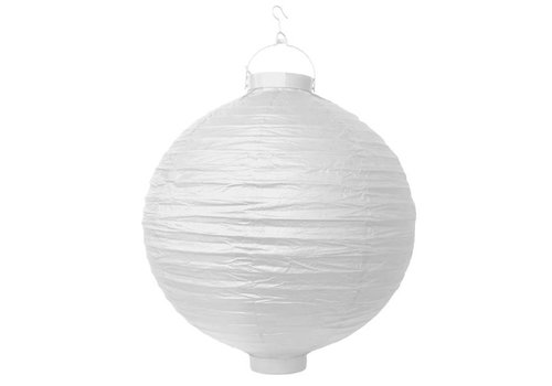 PartyDeco Witte lampion LED 20 cm