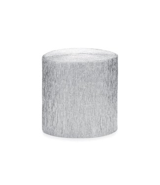 PartyDeco Crepe streamer zilver