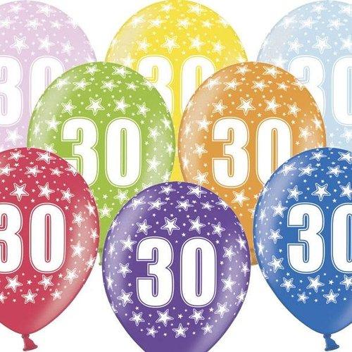 PartyDeco Ballonnen 30 jaar - metallic gekleurd met sterren | 6 stuks