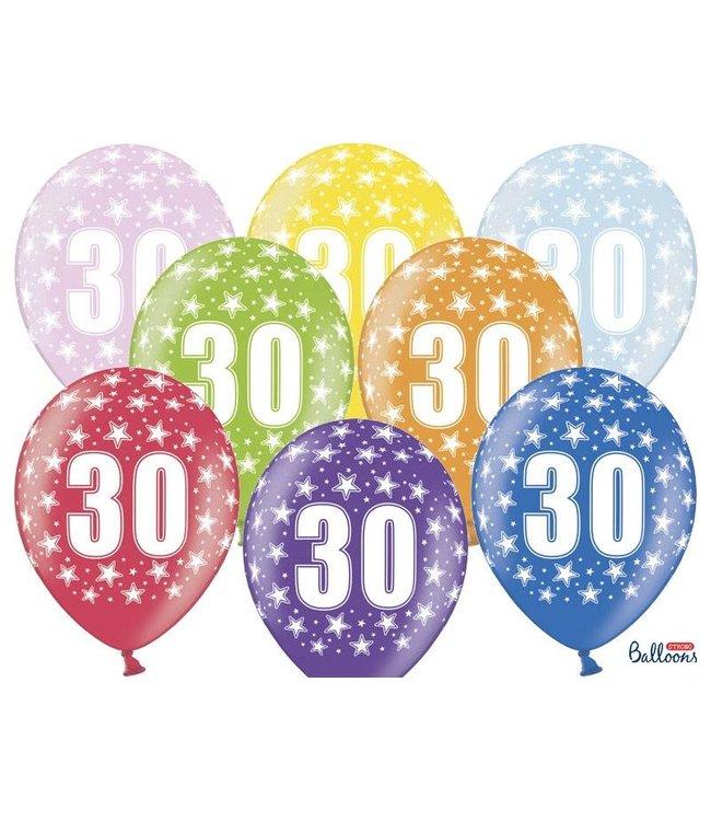 PartyDeco Ballonnen 30 verjaardag | sterren | 6 stuks