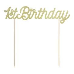 Taarttopper 1st birthday - goud