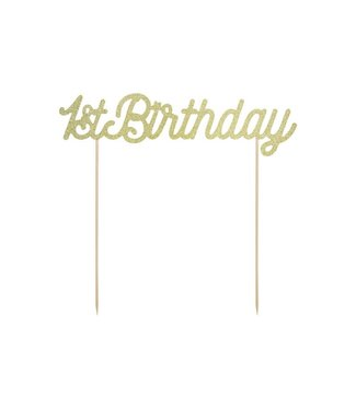 PartyDeco Taarttopper 1st birthday - goud