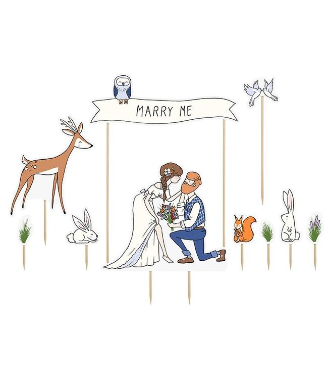 PartyDeco Marry Me - taarttoppers