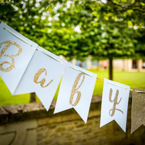 Babyshower luxe slinger - blauw-goud glitter