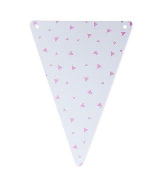 Artifetes Vlaggen wit - roze triangel