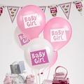 Feestdeco Baby Girl - ballonnen - 8 stuks