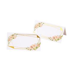 Plaatsnaamkaartjes Floral goud/roze - 25 stuks