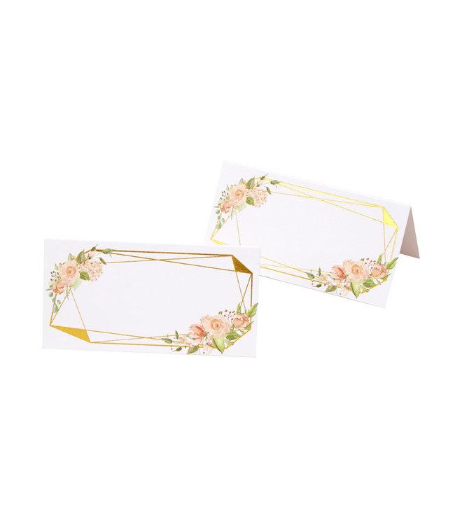 Feestdeco Plaatsnaamkaartjes Floral goud/roze - 25 stuks
