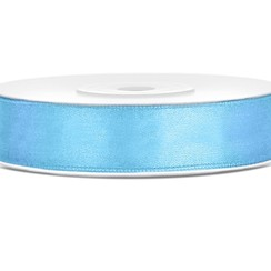 Satijnen lint lichtblauw 12mm breed- 25m lang