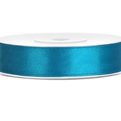 Satijnen lint turquoise 12mm breed- 25m lang