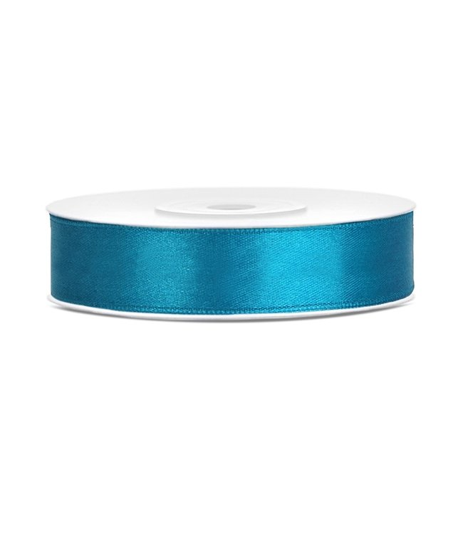 PartyDeco Satijnen lint turquoise 12mm breed- 25m lang