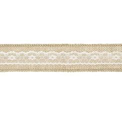 Kanten Jute lint | met kant midden 5cm breed - 5 meter lang