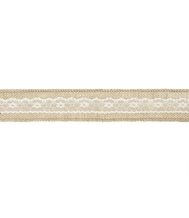 PartyDeco Kanten Jute lint | met kant midden 5cm breed - 5 meter lang