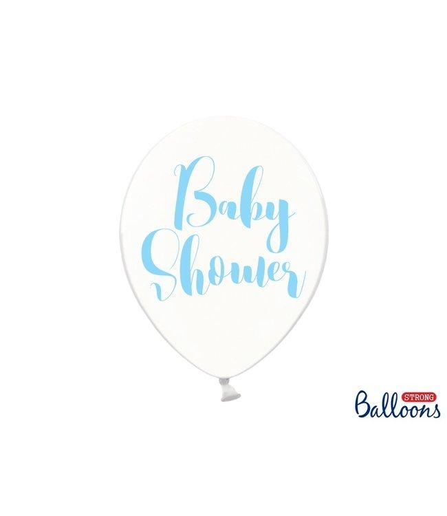 PartyDeco Ballonnen babyshower blauw - 6 stuks
