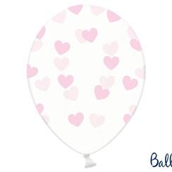 Ballonnen met roze hartjes - 6 stuks