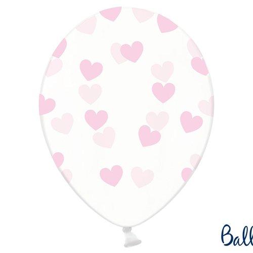 PartyDeco Ballonnen met roze hartjes - 6 stuks