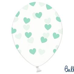Ballonnen met mintgroene hartjes - 6 stuks