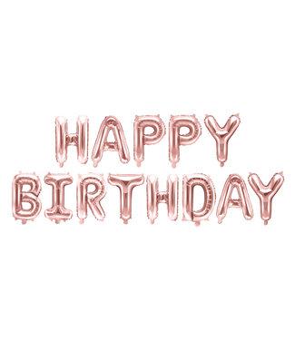 PartyDeco Happy Birthday folieballon - rose goud