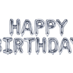 Happy Birthday folieballon - zilver