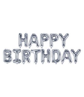 PartyDeco Happy Birthday folieballon - zilver