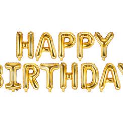 Happy Birthday folieballon - goud