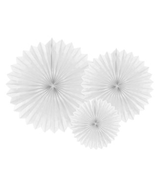 PartyDeco Tissue waaier 3 stuks - wit