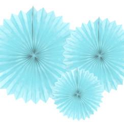 Tissue waaier 3 stuks - lichtblauw