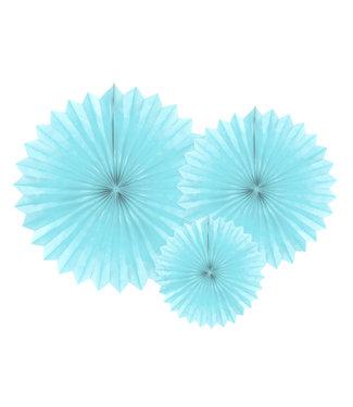 PartyDeco Tissue waaier 3 stuks - lichtblauw 20-40cm