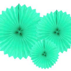 Tissue waaier 3 stuks - licht mint