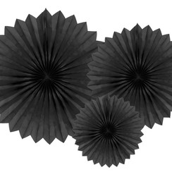 Tissue waaier 3 stuks - zwart