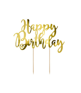 PartyDeco Taarttopper Happy Birthday - Goud