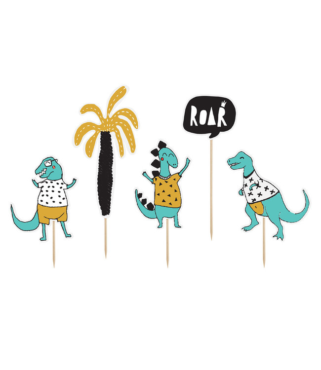 PartyDeco Taarttoppers dinosaurus - 5 delig