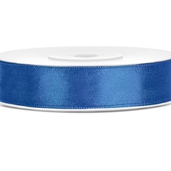 Satijnen lint blauw 12mm breed- 25m lang