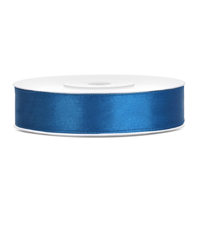 PartyDeco Satijnen lint royal blauw 12mm breed- 25m lang
