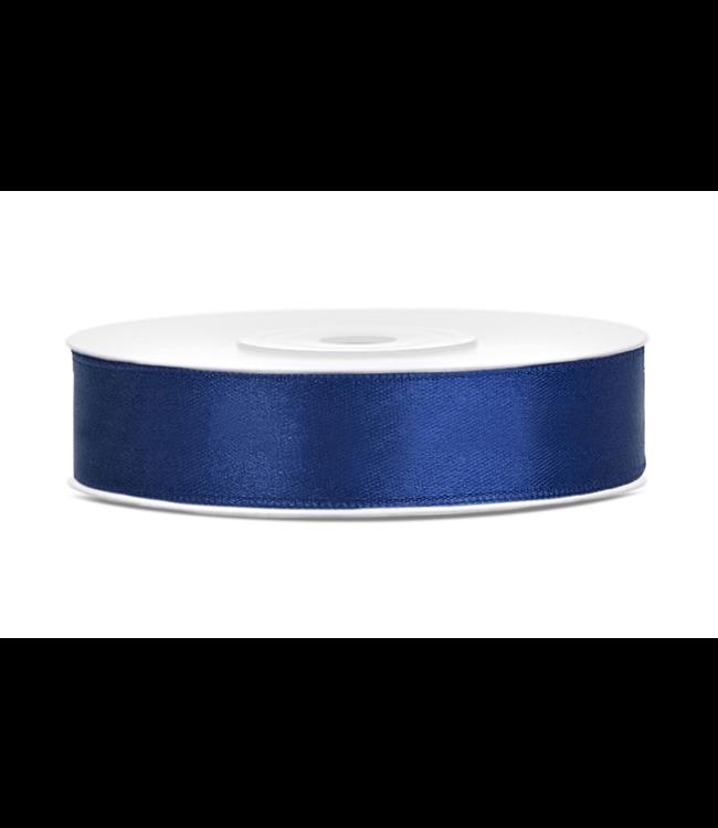PartyDeco Satijnen lint navy blauw  12mm breed- 25m lang