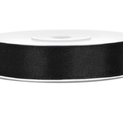 Satijnen lint zwart 12mm breed- 25m lang