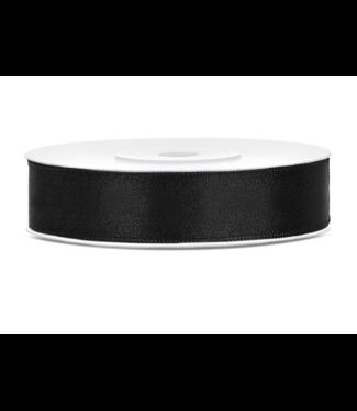 PartyDeco Satijnen lint zwart 12mm breed- 25m lang