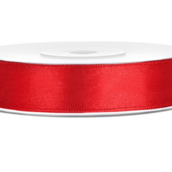 Satijnen lint rood 12mm breed- 25m lang