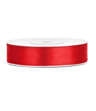 PartyDeco Satijnen lint rood 12mm breed- 25m lang