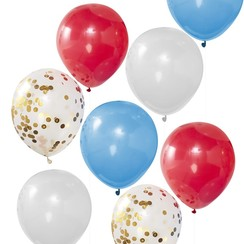 Bevrijdingsdag ballonnen - Rood - Wit - Blauw - Confetti goud 8 stuks