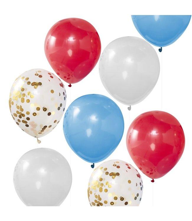 Ginger Ray Bevrijdingsdag ballonnen - Rood - Wit - Blauw - Confetti goud 8 stuks