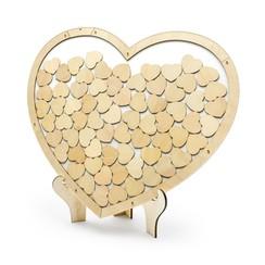 Gastenboek - Houten hart met 70 kleine hartjes