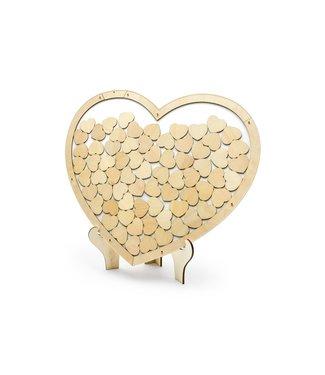 PartyDeco Gastenboek - Houten hart met 70 kleine hartjes