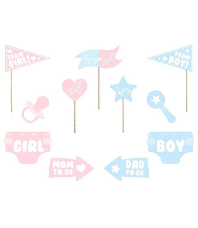 PartyDeco Gender Reveal Party Props   11 stuks