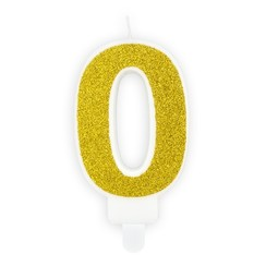 Verjaardagskaars cijfer 0 | Gouden glitters
