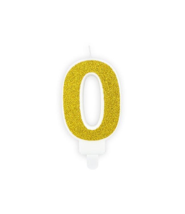 PartyDeco Verjaardagskaars cijfer 0 | Gouden glitters