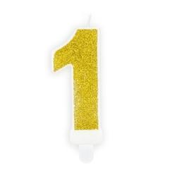 Verjaardagskaars cijfer 1 | Gouden glitters